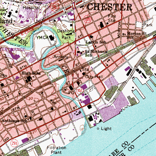 Topographic Map of Chester Police Department, PA