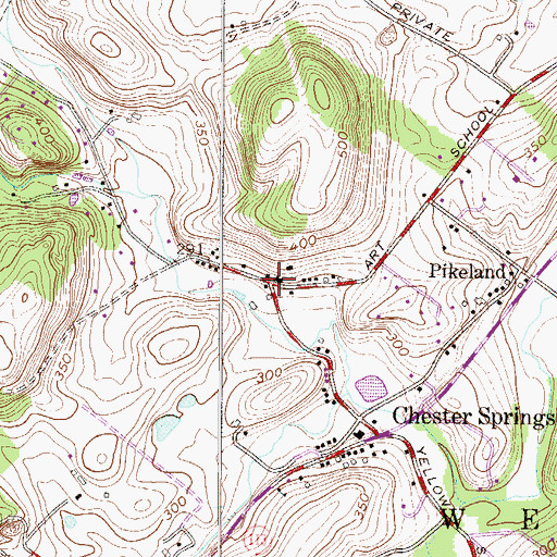 Topographic Map of Chester Springs Library, PA