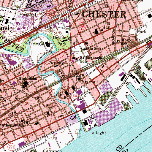 Topographic Map of Chester Station, PA