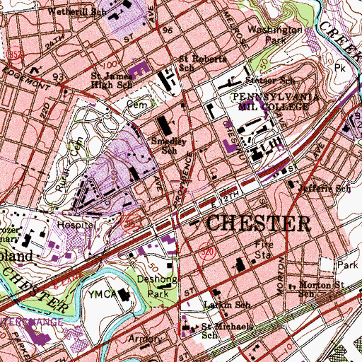Topographic Map of Chester City Fire Company Station 82, PA