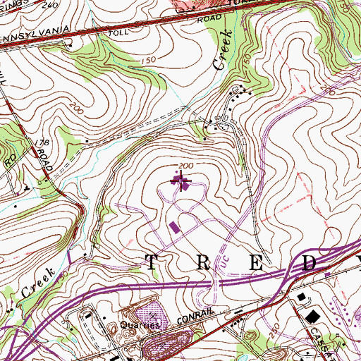 Topographic Map of Chesterbrook Academy, PA