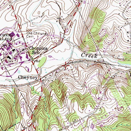 Topographic Map of Cheyney Post Office, PA
