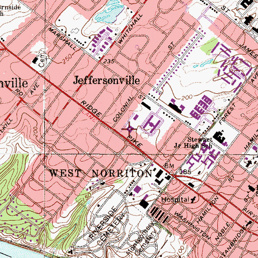 Topographic Map of Child Development Center and Montogmery County Intermediate School, PA
