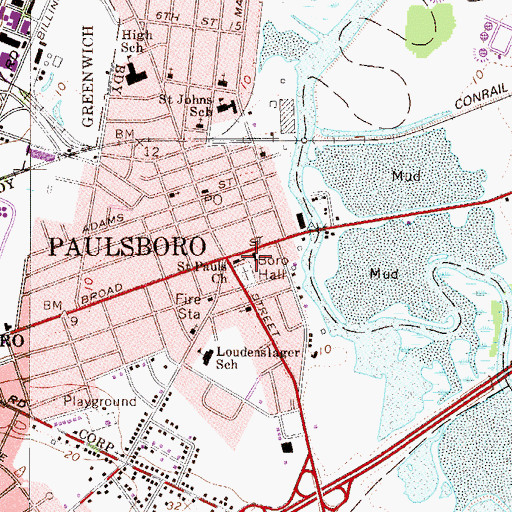 Topographic Map of Paulsboro Borough Hall, NJ