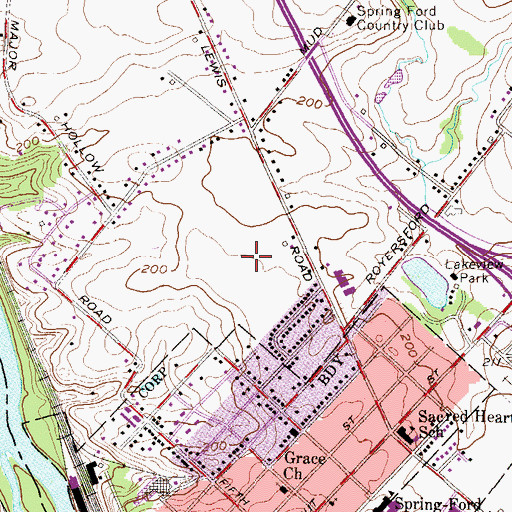 Topographic Map of Abbey Downs, PA