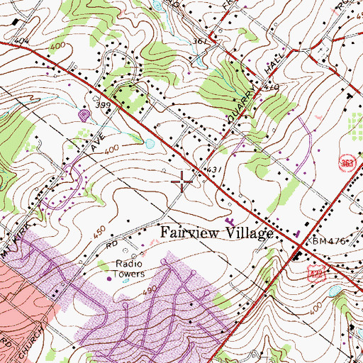 Topographic Map of Abruzzi Estates, PA