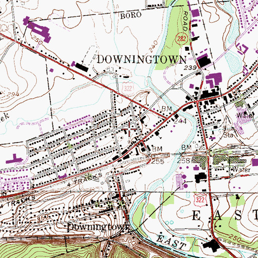 Topographic Map of Downingtown Fire Department - Alert Fire Company Station 45, PA