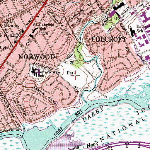 Topographic Map of Amosland Park, PA
