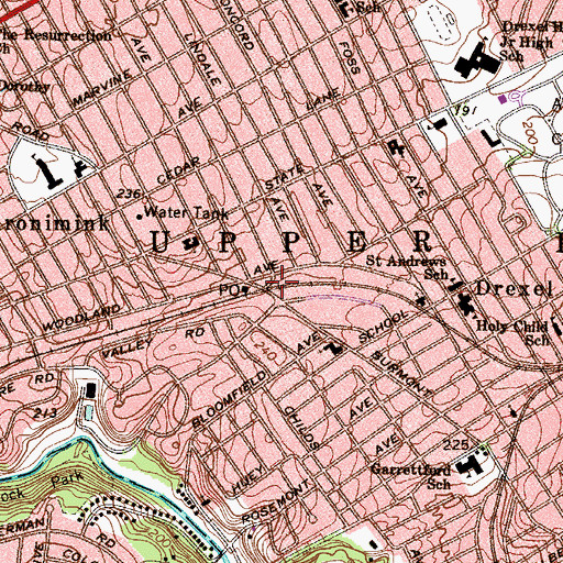 Topographic Map of Aronimink Station, PA