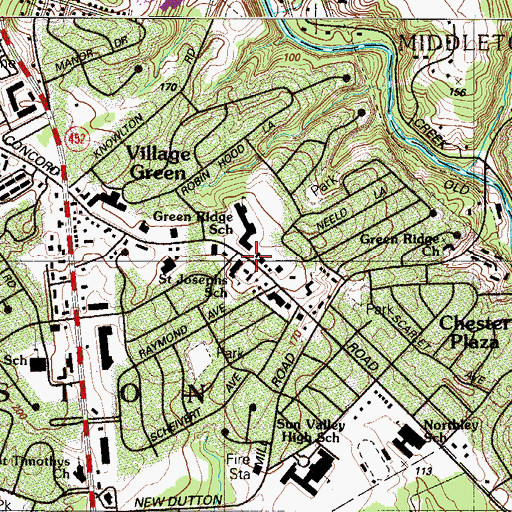 Topographic Map of Aston Library, PA