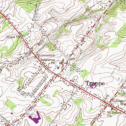 Topographic Map of Augustus Lutheran Church Cemetery, PA