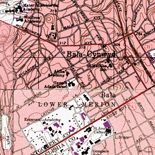 Topographic Map of Bala Cynwyd Branch Lower Merion Township Library, PA