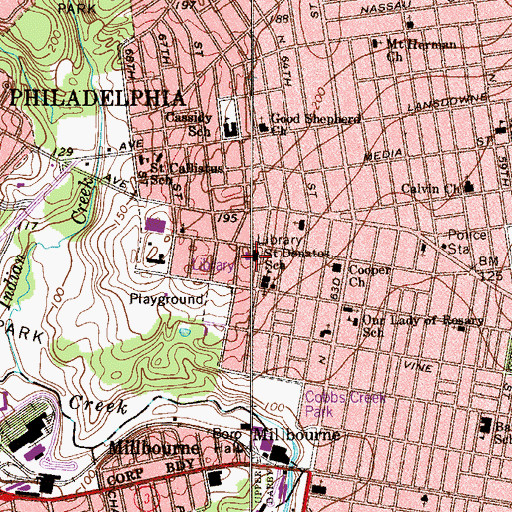 Topographic Map of Haddington Branch Library Free Library of Philadelphia, PA