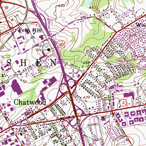 Topographic Map of Hallowell Park, PA