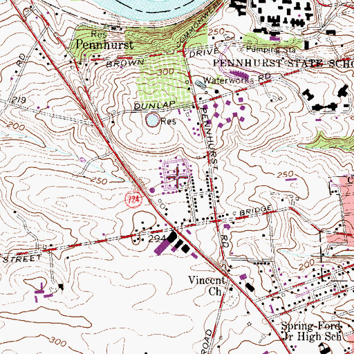 Topographic Map of Haverfield, PA