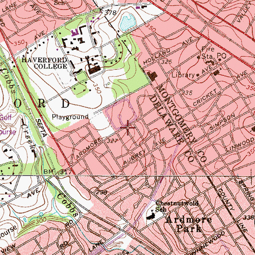 Topographic Map of Haverford Village, PA