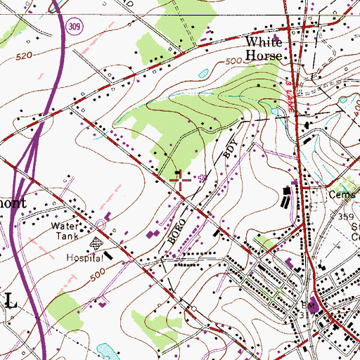 Topographic Map of Holiday House Recreation Area, PA