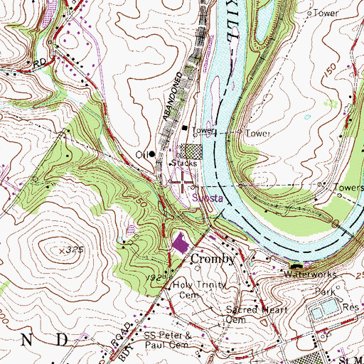 Topographic Map of Cromby Power Plant, PA