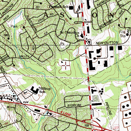 Topographic Map of Cutton Mill Village Shopping Center, PA