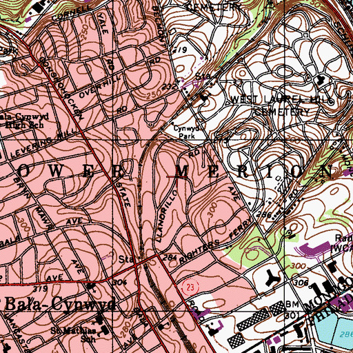 Topographic Map of Cynwyd, PA