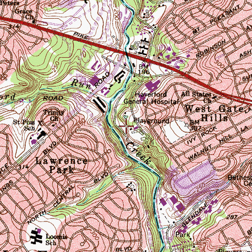 Topographic Map of Darby Creek Valley Park, PA