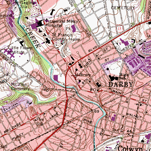 Topographic Map of Darby Library, PA