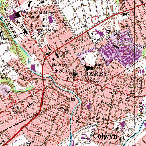 Topographic Map of Darby Police Department, PA