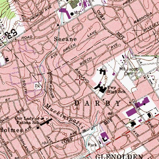 Topographic Map of Darby Township Building, PA