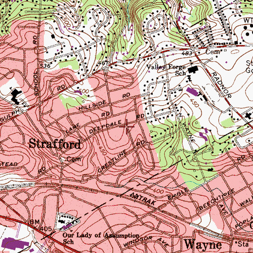 Topographic Map of Deepdale, PA