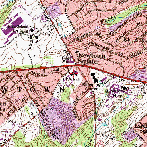 Topographic Map of Delaware County Christian Elementary School, PA