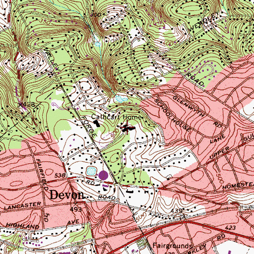 Topographic Map of Devon Prepatory School, PA