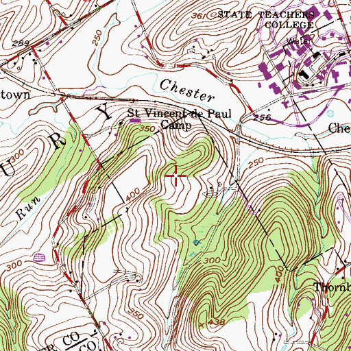 Topographic Map of Dilworthtown Woods, PA