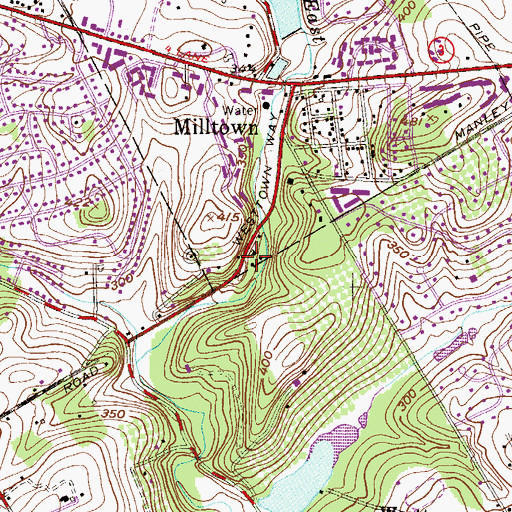Topographic Map of Dutts Mill, PA