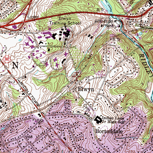 Topographic Map of Elwyn Station, PA
