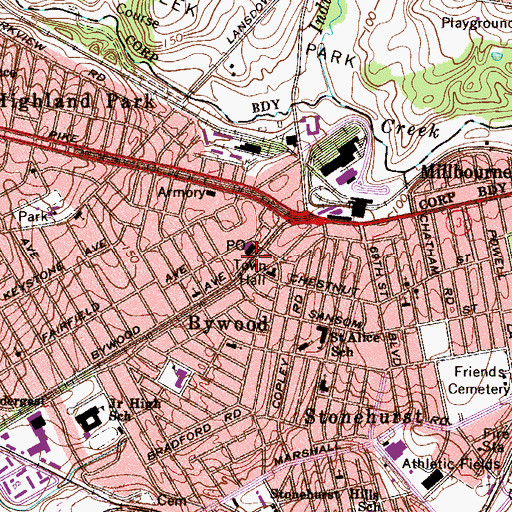 Topographic Map of Fairfield Avenue Station, PA