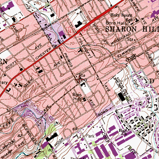 Topographic Map of Folcroft Borough Hall, PA