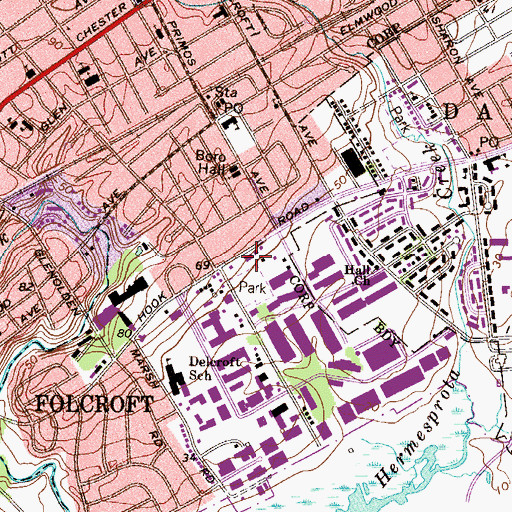 Topographic Map of Folcroft Fire Company Station 1, PA