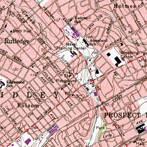Topographic Map of Folsom Fire Company Station 18, PA