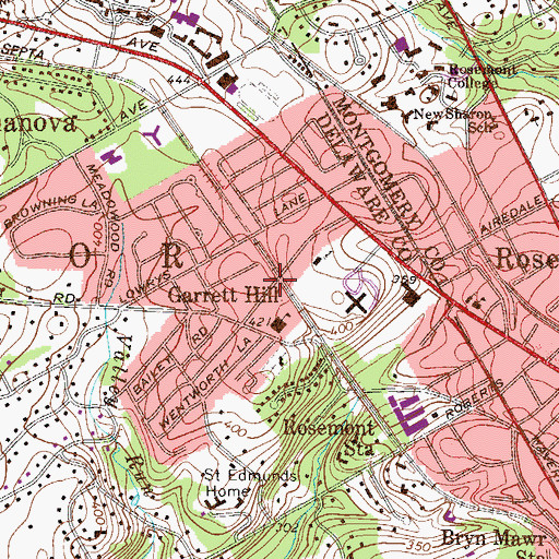 Topographic Map of Garett Hill Station, PA