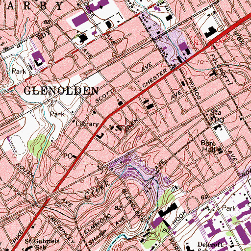 Topographic Map of Glenolden Borough Hall, PA