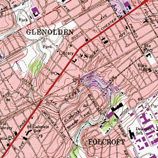 Topographic Map of Glenolden Station, PA