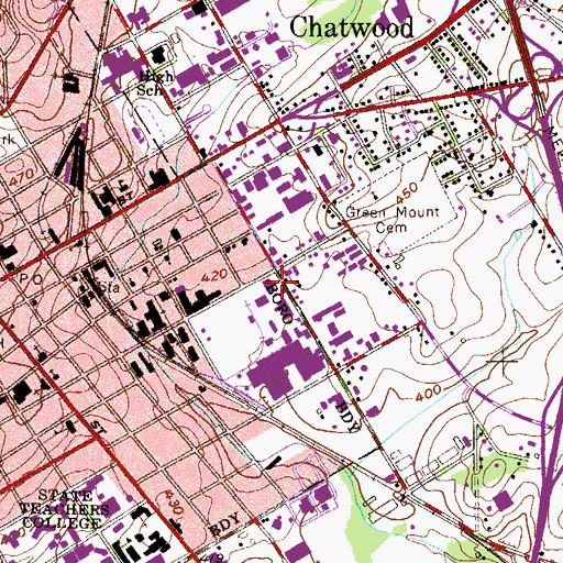 Topographic Map of West Chester Fire Department / Good Will Fire Company 2, PA