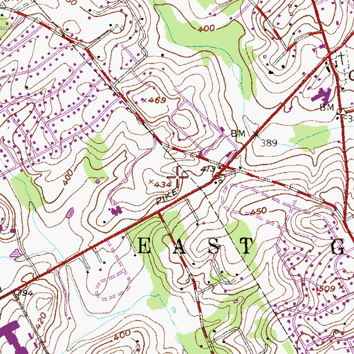 Topographic Map of Goshen Corporate Park, PA