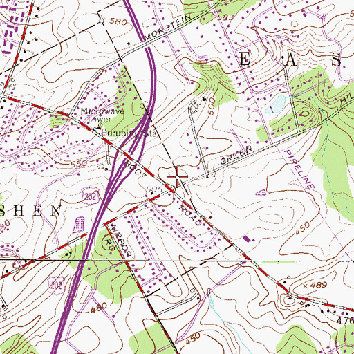Topographic Map of Goshen Fire Company Station 56, PA