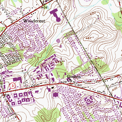 Topographic Map of Goshen Terrace, PA
