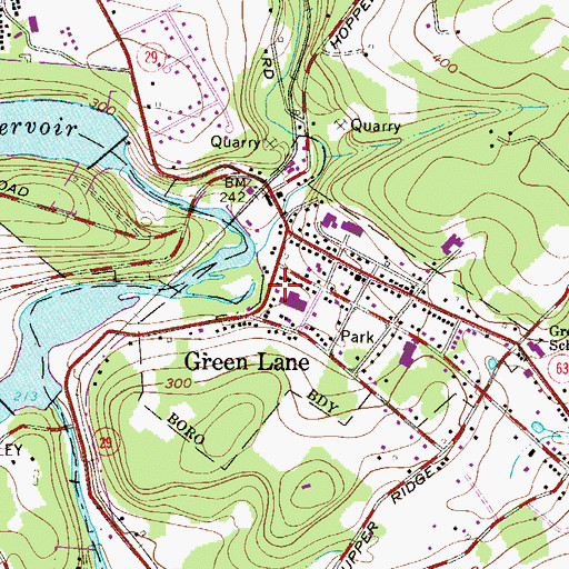 Topographic Map of Green Lane Post Office, PA