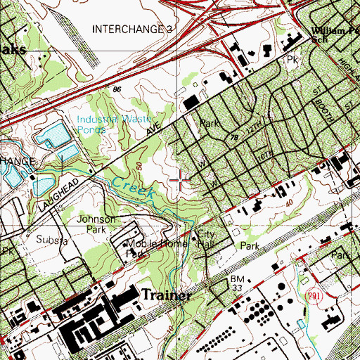 Topographic Map of Lennox Park Company 1 Fire Station, PA