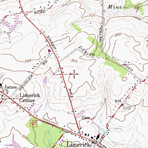 Topographic Map of Limerick Community Park, PA