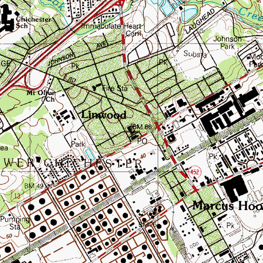 Topographic Map of Lower Chichester Township Building, PA