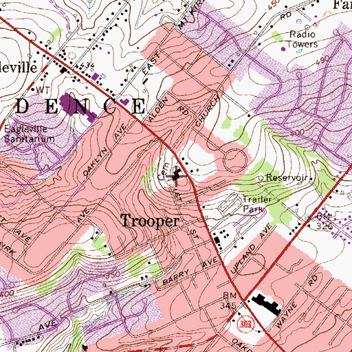 Topographic Map of Lower Providence Presbyterian Church, PA